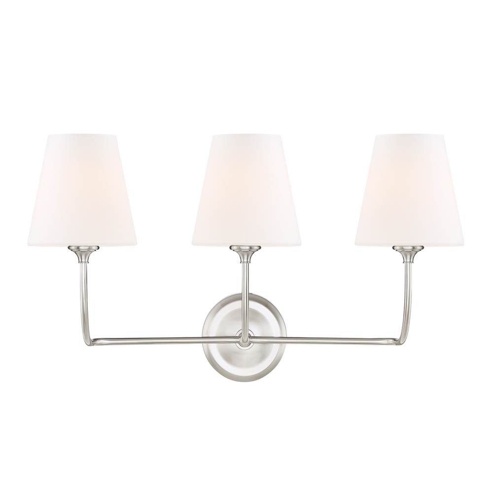 Crystorama Three Light Vanity Bathroom Lights item 2443-OP-BN