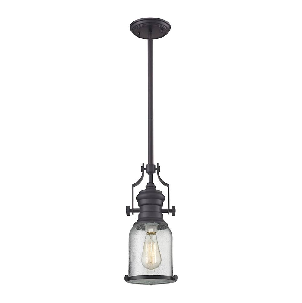 Elk lighting 67722 1 at kitchens and baths by briggs bath showroom elk lighting 67722 1 chadwick 1 light pendant in oil rubbed bronze and seeded glass aloadofball Image collections