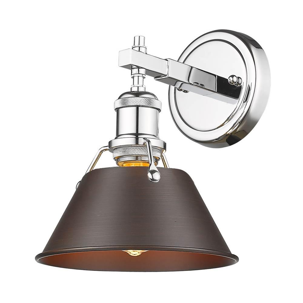 Golden Lighting 3306-FM CH-RBZ One Light Flush Mount Chrome//Bronze