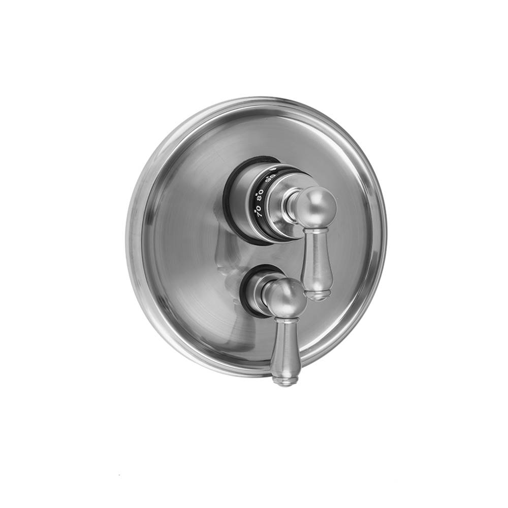 Unlacquered Brass Jaclo 9930-T675-S-240-TRIM-ULB Roaring 20s Bathtub Filler with Hex Lever Handles and Straight Handshower